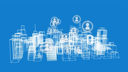 filare : Animation of modern city and global communication graphic on blue background Filmati Stock