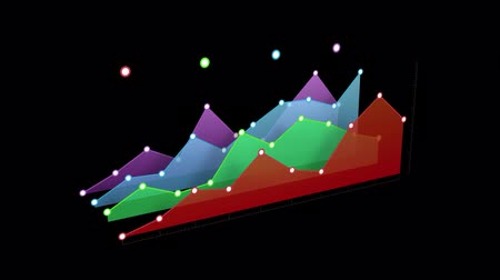 crescimento : Animation of colourful 3d graph building on black background and disappearing