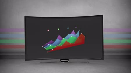 comparar : Animation of coloured chart appears on a flatscreen with colours in the background