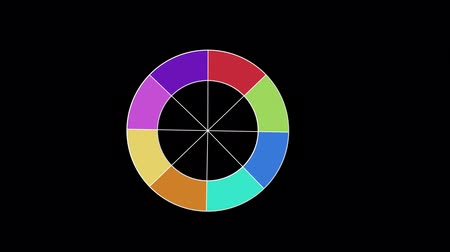 arco íris : Animation of a white circle which appears, turns and fills with colours and disappears on black background