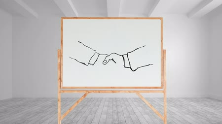 terms : Animation of a black and white drawing of a handshake appearing on a blank canvas in an empty white room