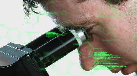 pathology : Animation of Caucasian man looking into the eyepiece of a stereo microscope seen from the side in close up, while glowing green technical text and data appears in the foreground Stock Footage