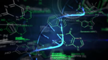 evidência : Animation of moving DNA, glowing text and digital data displayed on dark background Stock Footage