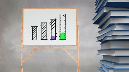 beside : Animation of a drawing of colourful bar graph appearing on a blank canvas beside a stack of books against a mottled grey background.