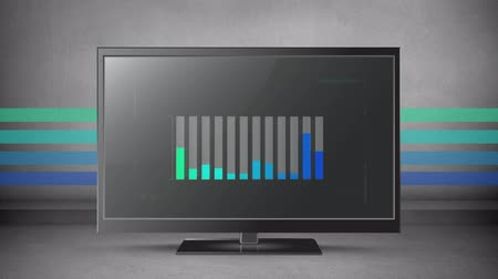futuro : Animation of coloured bar chart on a flatscreen with colours in the background Stock Footage