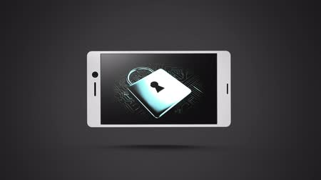 kłódka : Animation of icons of padlock rotating on smartphone display on gray background Wideo