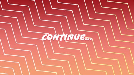 zigzag : Animation of the coloured word continue with graphic shapes moving on red to black gradient background Stock Footage