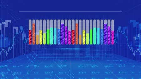crescimento : Animation of a grey bar chart appearing from left to right and filling to different levels with rainbow colours, then disappearing from left to right, on a blue background with moving charts and data