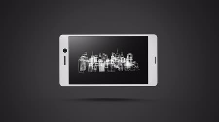 etkileşim : Animation of spinning city displayed on smartphone on grey background