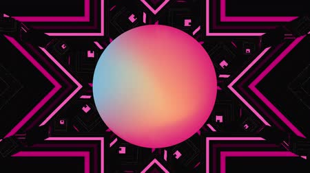 nineties : Animation of abstract colourful stars moving and rotating with pink to yellow gradient circle in the middle on a black background