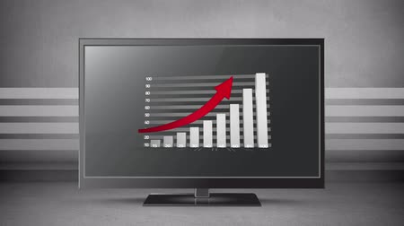 emelkedő : Animation of a grey bar graph showing growth with upwardly turning red arrow dispalyed on a flatsceeen monitor against a grey background with stripes