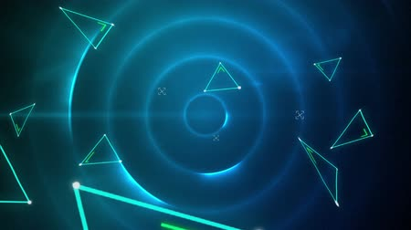 concêntrico : Animation of distorting triangles formed from green glowing lines floating on black background with moving concentric circles of blue light