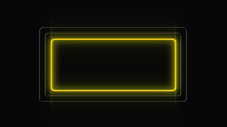 nineties : Animation of neon sign showing yellow, green and white frames on black background Stock Footage