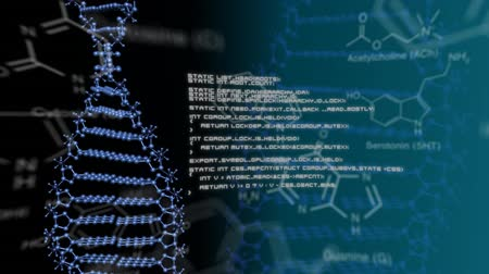 pathology : Animation of moving DNA, text and digital data displayed on dark background