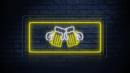 generált : Animation of neon sign showing chinking beer glasses in flashing frame on dark brick background