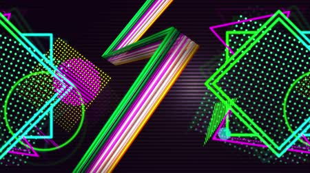 zigzag : Digital animation of a string of lights moving up in a zigzag. Beside it are colourful bright shapes and patterns on a black background