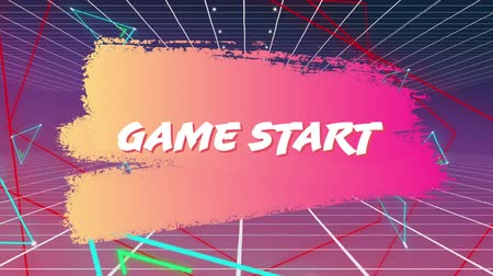 konsola : Digital animation of game start text on a smudged paint. The background has grid lines with glowing triangle shapes