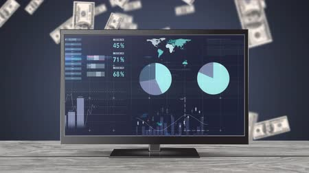 us banknotes : Digital animation of graphs and statistics moving to the left on a television screen. The television is on a table with a background filled with falling dollar bills