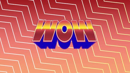 vay : Digital animation of wow text in arcade theme. The background has a zigzag pattern Stok Video