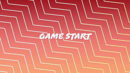 zigzag : Digital animation of a game start sign on an arcade game. The background is red with zigzag lines
