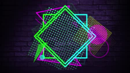 葡萄收获期 : Digital animation of glowing shapes and patterns. The background dark with a brick wall 影像素材