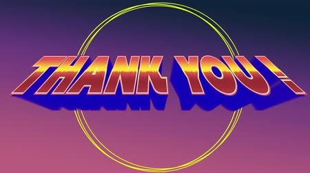 фасонный : Digital animation of a thank you text in arcade theme. The background has a strings shaped into a circle Стоковые видеозаписи