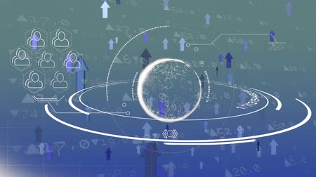 indicating : Digital animation of an illustration of a rotating globe with a symbol of networking beside it. The background is filled with stock market numbers and arrows moving up