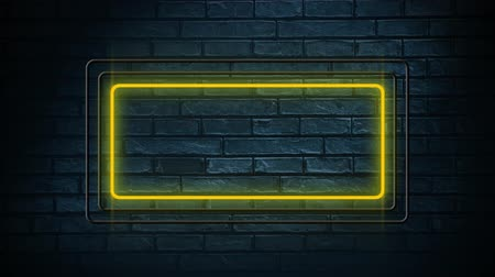 неон : Digital animation of rectangle lead lights flickering. The background is a brick wall