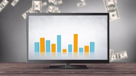 выигрыш : Digital animation of bar graphs on a television screen. The background is filled with dollar bills falling