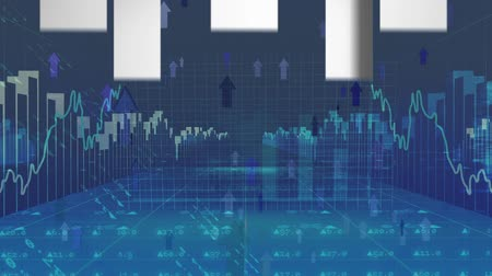 indicar : Digital animation of bar graphs and line graphs moving in a forward motion. Arrows are moving up all over. Stock market numbers are seen in the background Stock Footage