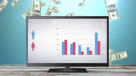 dolar : Digital animation of a television with a bar graph corresponding to male and female statistics. Beside the bar graph is a female and male symbol. Behind the television are dollar bills falling down Dostupné videozáznamy