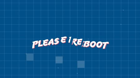 konsola : Digital animation of a please reboot message from an arcade game. The background is a grid with glowing squares and dots moving along it