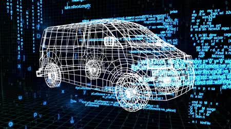 rascunho : Digital animation of a 3D model of a mini van. The background is filled with interface codes Vídeos