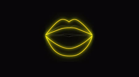 nineties : Digital animation of a glowing outline of air of lips. The lips open and close against black background Stock Footage
