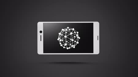 wire frame : Digital animation of a smartphone with a sphere wire frame on its screen. The background is black