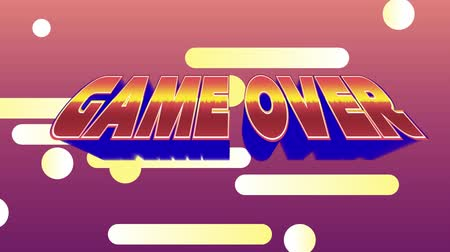 konsola : Digital animation of a game over message from an arcade game. The background is red with colourful beams and dots of glowing light