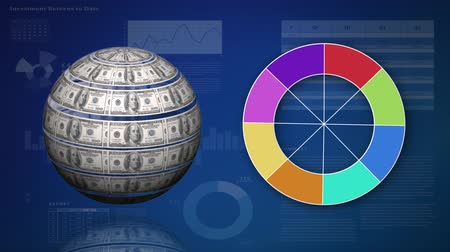us banknotes : Digital animation of a globe made of dollars bills. Beside it is a colour wheel. The background has graphs and statistics Stock Footage