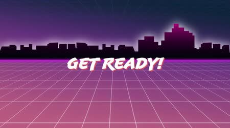 reszelt : Digital animation of get ready message from an arcade game. The background has grid line filed moving towards city buildings Stock mozgókép