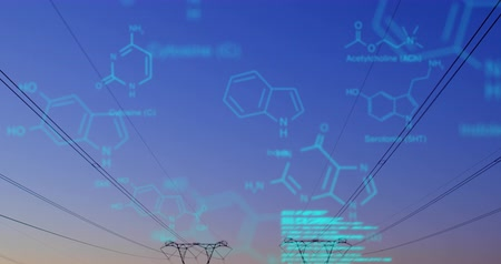 żródło : Digital animation of chemical structures and program codes appearing in the screen. Background shows transmission towers in a field during sunset.
