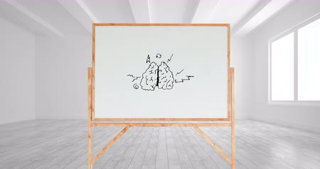 indicating : Digital animation of a drawing of a brain with different arrows in a white board with a wooden frame inside a white room with windows. Stock Footage