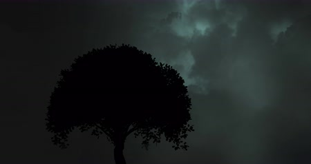 opvallend : Digital composite of a silhouette of a tree while lightning moves in the dark background