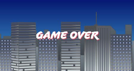 konsola : Digital animation of a white Game Start sign zooming in the screen while background shows buildings and blue sky