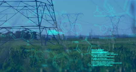 field study : Digital animation of chemical structures and program codes appearing in the screen. Background shows transmission towers in a field. Stock Footage