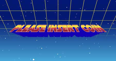 title : Digital animation of a Please Insert Coin sign zooming in the screen while background shows green square outlines moving upwards and the galaxy