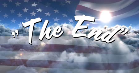 typeface : Digital animation of a white The End sign appearing in the sky with clouds moving and the sun while an American flag waves in the background Stock Footage