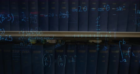 matematikai : Digital animation of written mathematical equations with figures moving in the screen while background shows a shelf with books Stock mozgókép