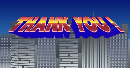 ação de graças : Digital animation of a Thank You sign zooming in the screen while blinking and a background of grey buildings with blue sky Stock Footage