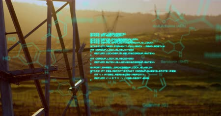 command : Digital animation of chemical structures and program codes appearing in the screen. Background shows transmission towers in a field during sunset.
