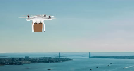 доставлять : Digital animation of a white drone carrying a brown box while hovering in a city near the coast during sunset