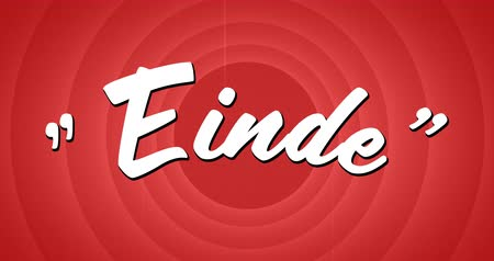 desenli : Digital animation of a white Einde sign appearing against a red circle patterned background